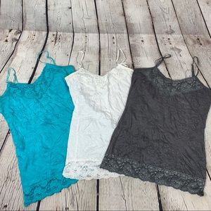 Maurices Tank Cami Lot Crinkle Lace Layering 3 Pc